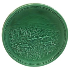 French Green Majolica Hare and Hunting Dog Plate Sarreguemines, circa 1920