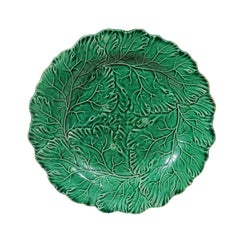 French Green Majolica Leaf Plate with Scalloped Edge from the Late 19th Century