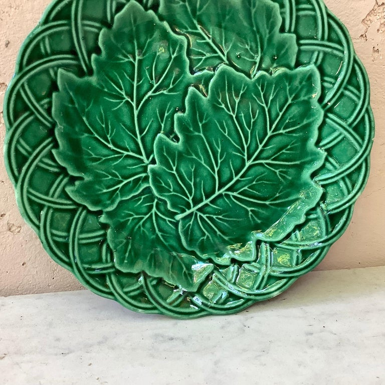 French green Majolica leaves on basket weave background plate, circa 1880.