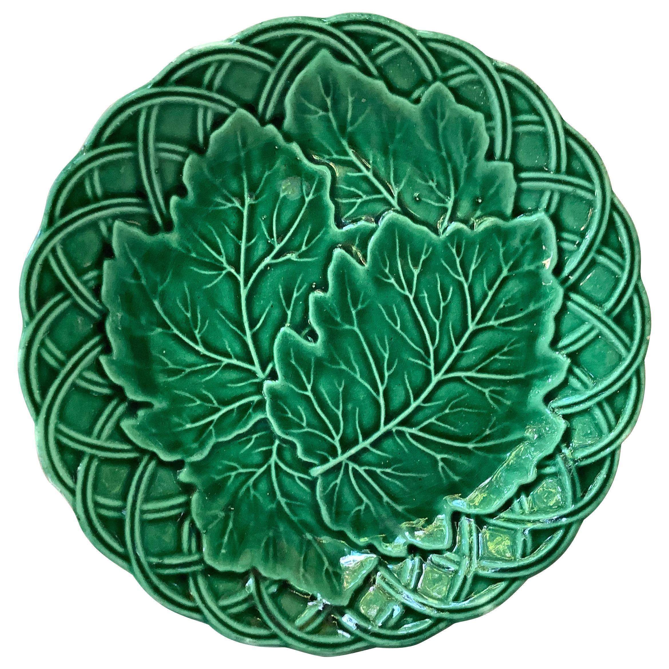 French Green Majolica Leaves Plate, circa 1880