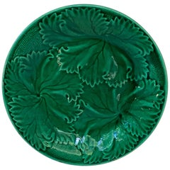 French Green Majolica Leaves Plate Clairefontaine, circa 1890
