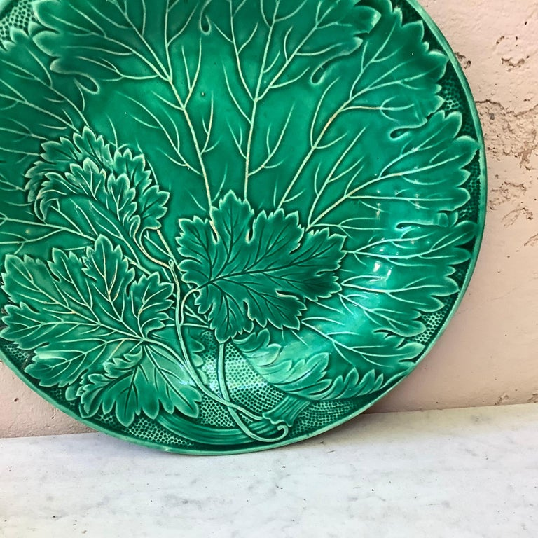 Ceramic French Green Majolica Leaves Plate Montereau, circa 1890 For Sale