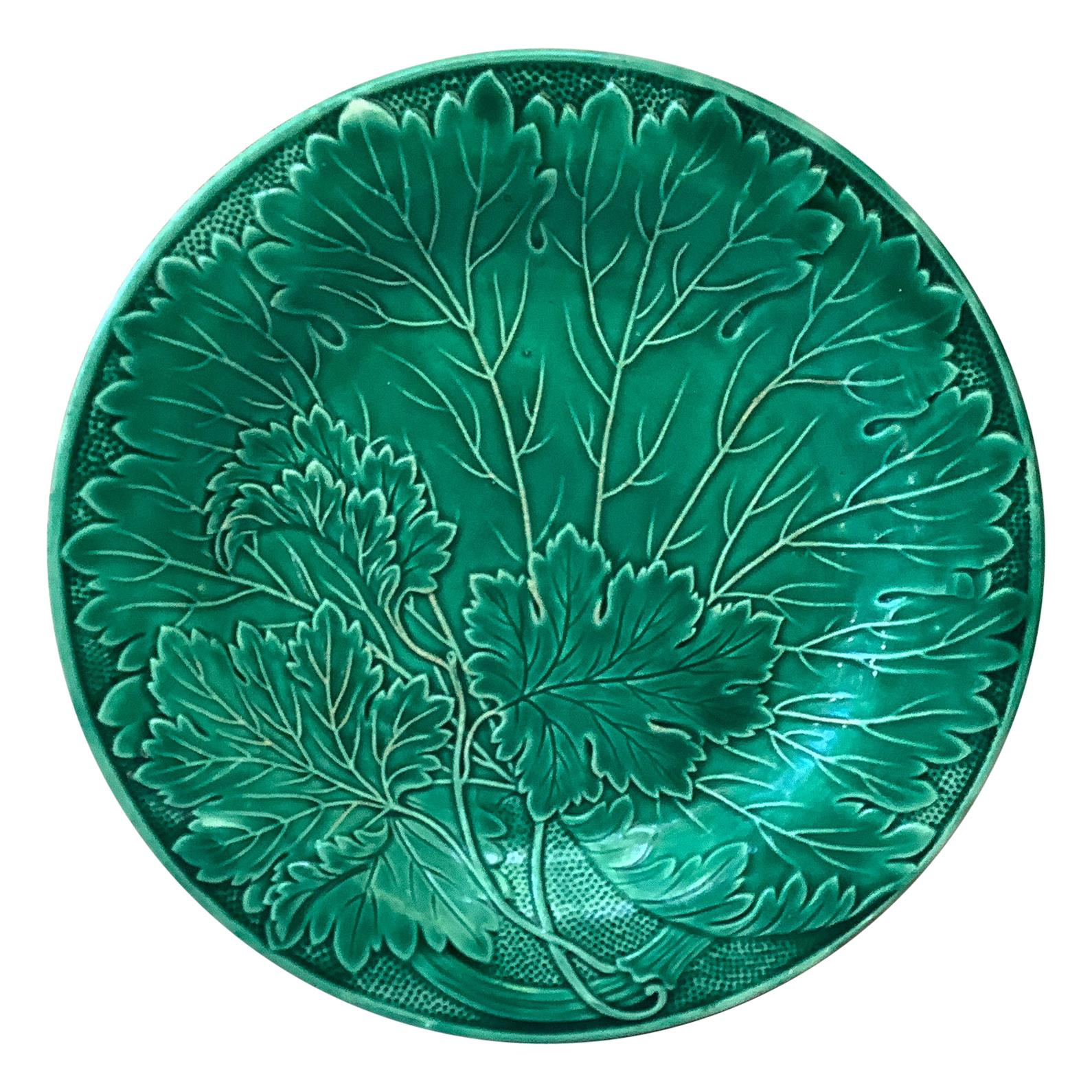 French Green Majolica Leaves Plate Montereau, circa 1890