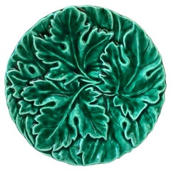 French Green Majolica Leaves Plate Sarreguemines Digoin, circa 1930