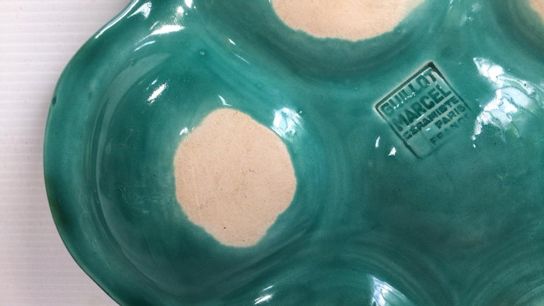Mid-Century Modern French Green Majolica Oyster Marcel Guillot, circa 1950 For Sale