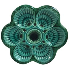 French Green Majolica Oyster Marcel Guillot, circa 1950