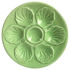 French Green Majolica Oyster Plate, circa 1950