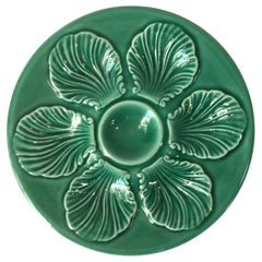 French Green Majolica Oyster Plate Proceram, circa 1950