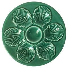 French Green Majolica Oyster Plate Proceram, circa 1950