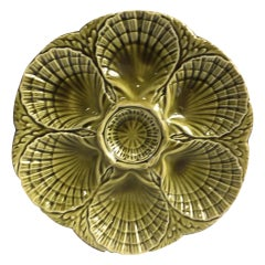 French Green Majolica Oyster Plate Sarreguemines, circa 1930