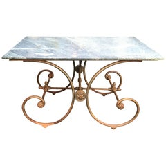 French Green Marble Top Baker's Table