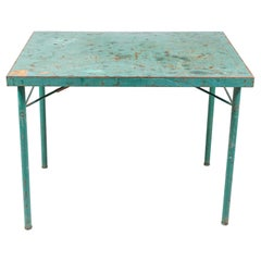 French Green Metal Folding Table