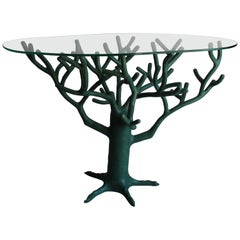 French Green Resin Tree Sculpture Table