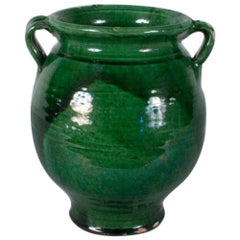 French Green Terracotta Confit Jar, Early 1900s
