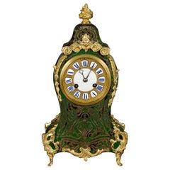 French Green Tortoiseshell Boulle Clock by Jean-Baptiste Delettrez