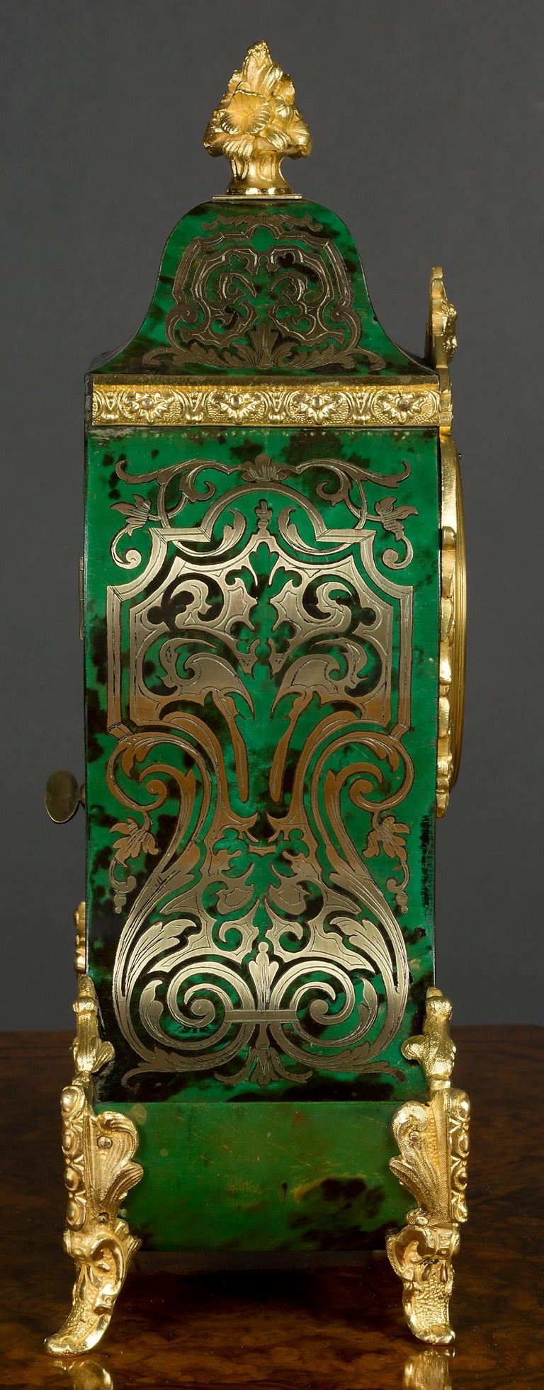 Victorian French Green Tortoiseshell Boulle Clock For Sale