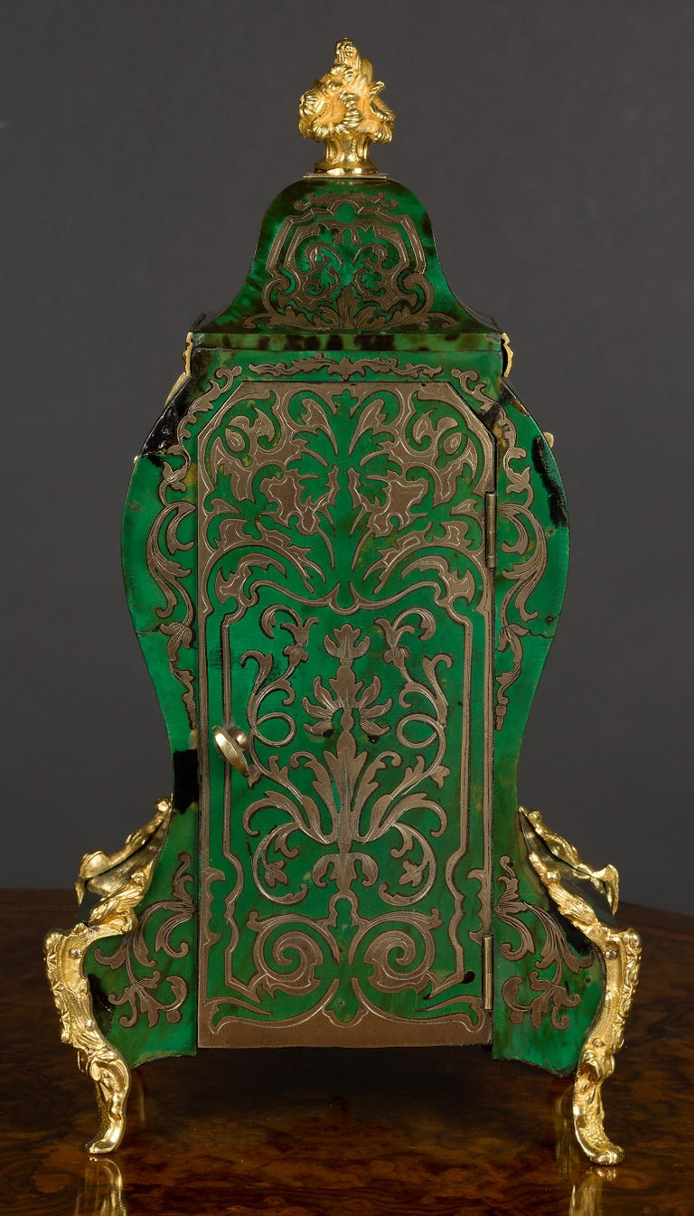French Green Tortoiseshell Boulle Clock In Good Condition For Sale In Norwich, GB
