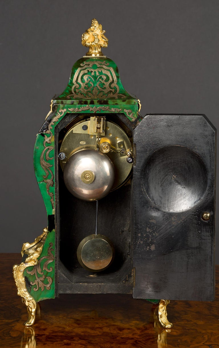 Late 19th Century French Green Tortoiseshell Boulle Clock For Sale