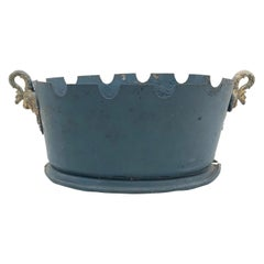 French Grey Blue Tole Monteith Cachepot with Gilt Swan Handles