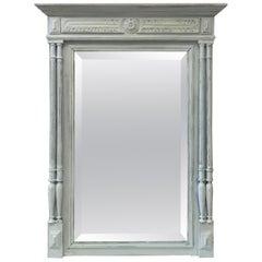 French Grey Painted Mantel Mirror, circa 1880