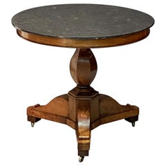 French Guéridon or Round Table of Walnut with Marble Top
