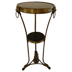 French Gueridon Table or Pedestal, Gilt Bronze and Black Marble Top Empire Style