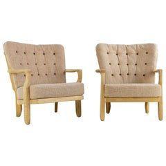 French Guillerme et Chambron Armchairs, Hungarian Oak, Wool
