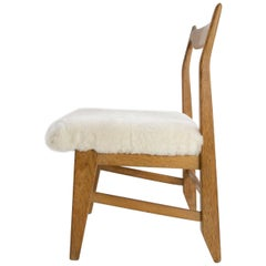 French Guillerme et Chambron Armless Chair, Hungarian Oak, Lambskin