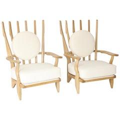Guillerme et Chambron Oak Pair of Grand Repos French Lounge Chairs Votre Maison