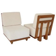 French Guillerme Et Chambron Votre Maison Pair of Lounge Chairs Model Elmyre