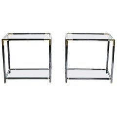 French Gunmetal and Brass End Tables, 1970s