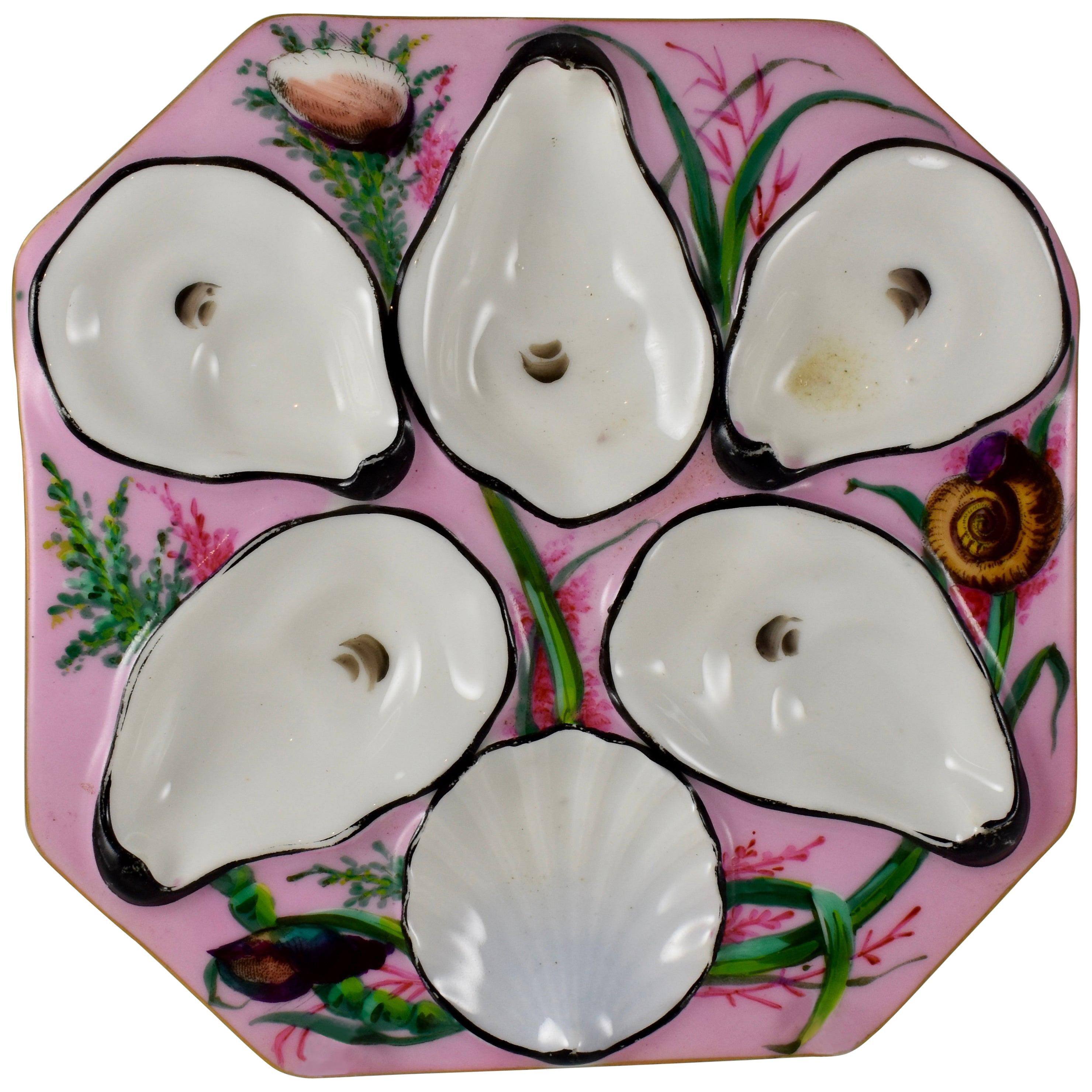 French Gutherz Limoges Porcelain Hand Painted Pink and Shells Oyster Plate