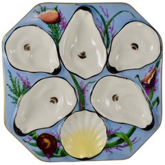 French Gutherz Limoges Porcelain Hand Painted Sky Blue and Shells Oyster Plate