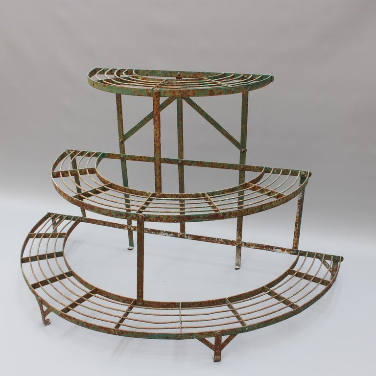 French half-moon shaped wrought iron plant stand (circa 1900-1920). A very characterful plant stand with European charm, chipping green paint with light rust and distinguished provenance. The structure is intact and may be retained in its current