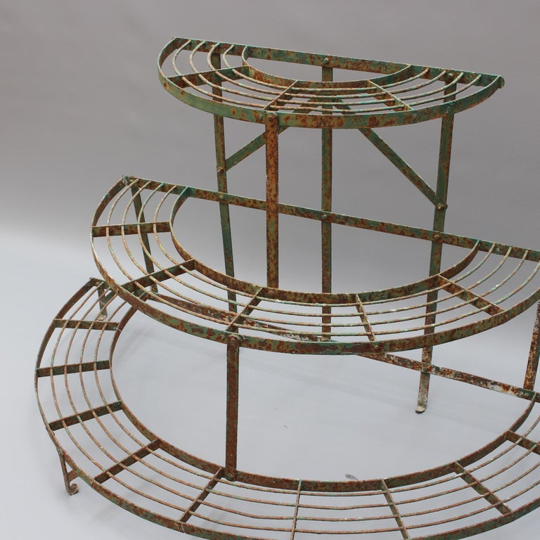 Wrought Iron French Half-Moon Plant Stand, circa 1900-1920 For Sale