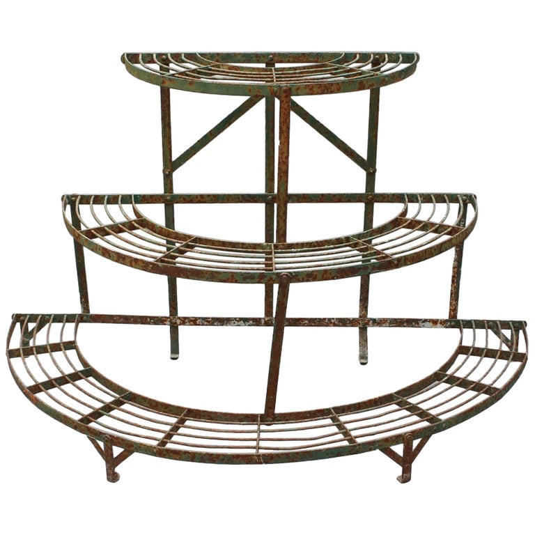 French Half-Moon Plant Stand, circa 1900-1920 For Sale