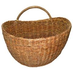 French Half Round Woven Basket, Belgium, c. 19th Century