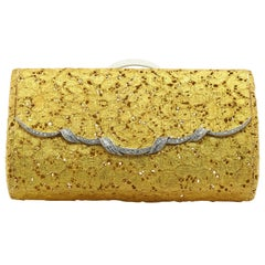 French Hallmarked 18k Solid Gold 3.0ct VS Diamond Floral Filigree Clutch Purse