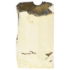 French Hallmarked Limited Edition Brass/ Bronze Crushed Paper Bag Sculpture