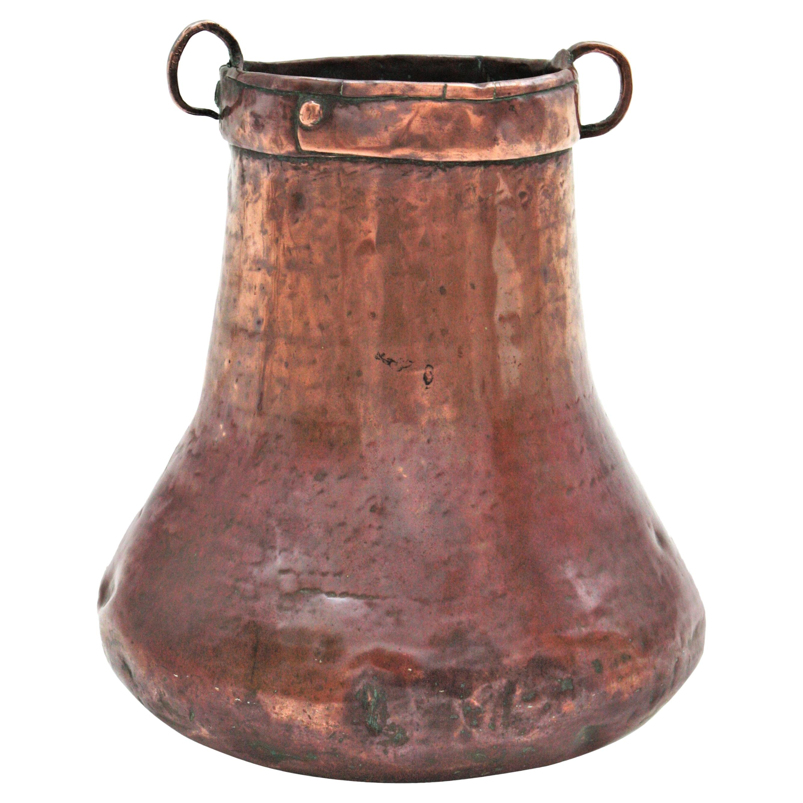 French Hammered Copper Tall Cauldron / Planter with Handles