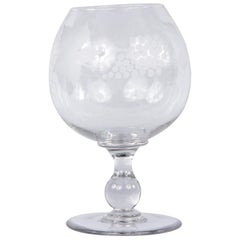 French Hand Blown Crystal Decorative Wine Glass, 20th Century