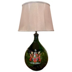 French Hand Blown Glass Wine Bottle with Painted Coat of Arms Table Lamp