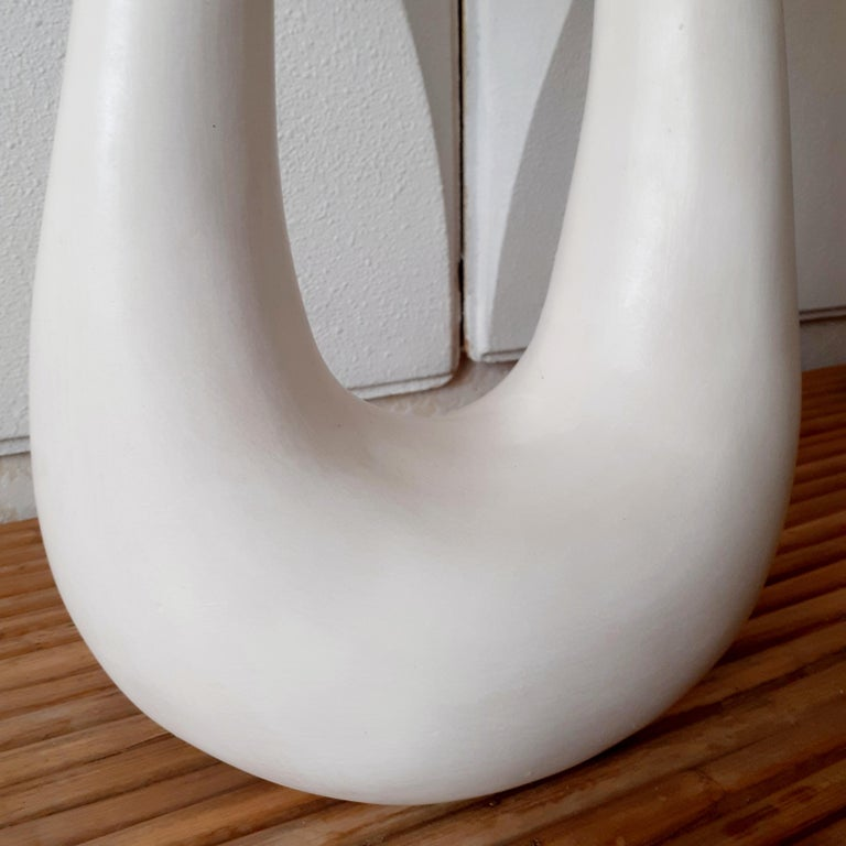 French Hand-Build Ceramic Lamp with Shade In New Condition For Sale In ST OUEN, FR