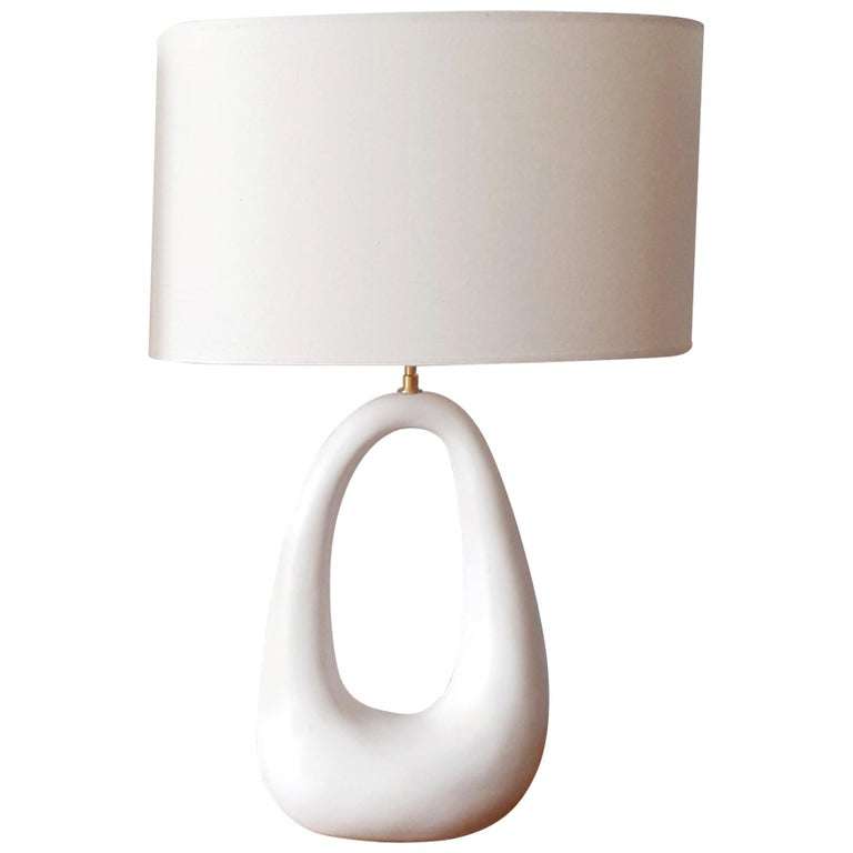 French Hand-Build Ceramic Lamp with Shade For Sale