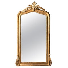 French Hand Carved Beveled Mirror in Hand Gilt Frame