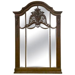French Hand Carved Oak Mirror with Floral Details Over Mantel or Wall Mount