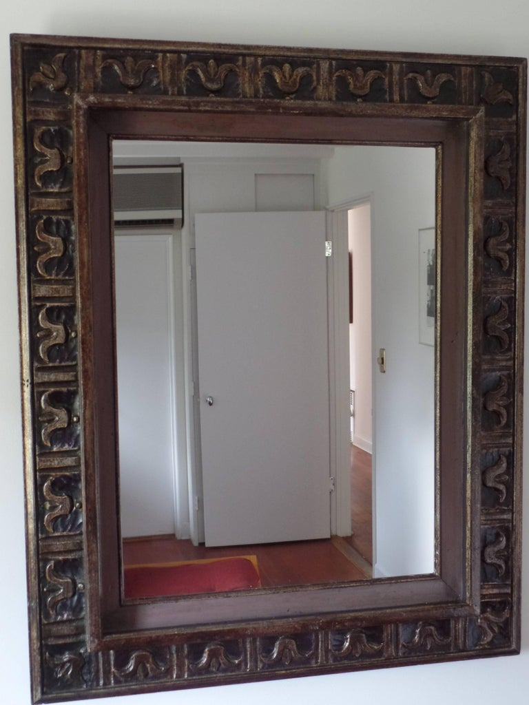 French Hand Carved Silver and Gilt Wood Mid-Century Modern Neoclassical Mirror In Good Condition For Sale In New York, NY