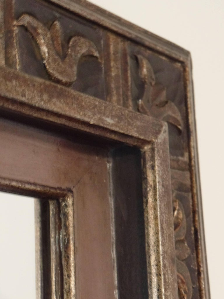 Mid-20th Century French Hand Carved Silver and Gilt Wood Mid-Century Modern Neoclassical Mirror For Sale