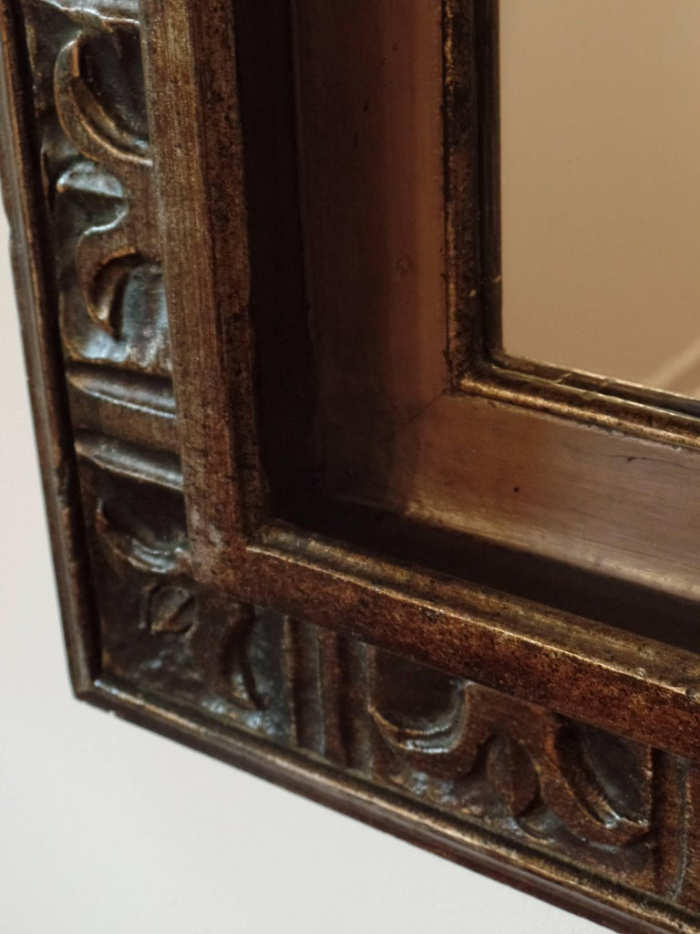 French Hand Carved Silver and Gilt Wood Mid-Century Modern Neoclassical Mirror For Sale 1