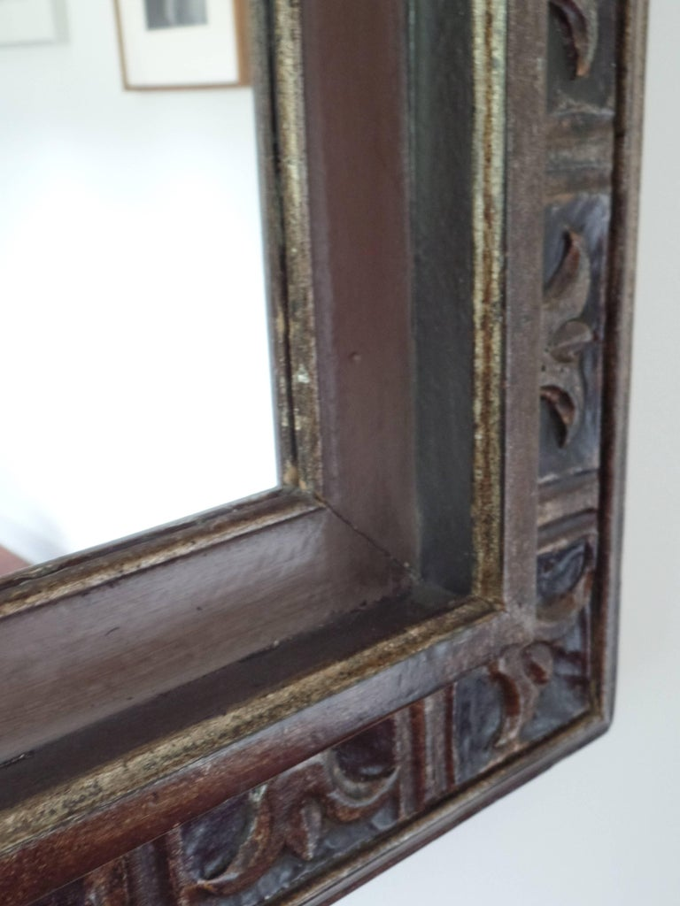 French Hand Carved Silver and Gilt Wood Mid-Century Modern Neoclassical Mirror For Sale 3